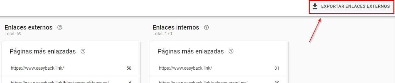 gsc - enlaces - exportar