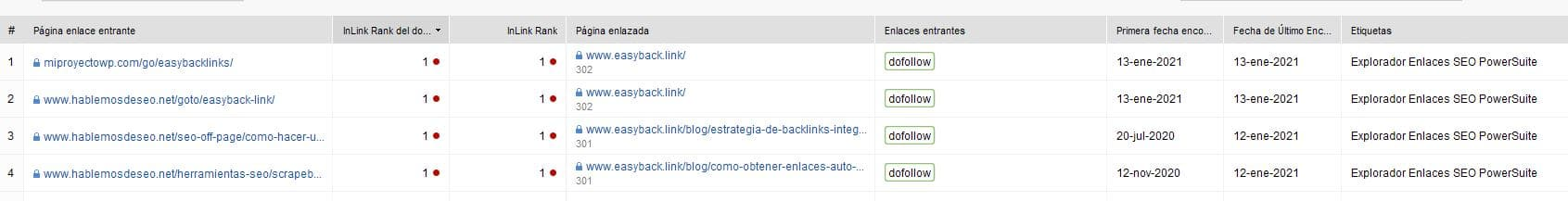 seo spyglass - listado de backlinks